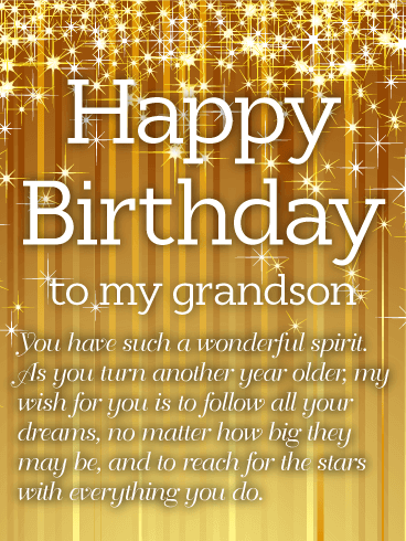 Golden Happy Birthday Wishes Card For Grandson Just Like The Candles On Top Of His Cake This Bright And Shining Holds All Excitement