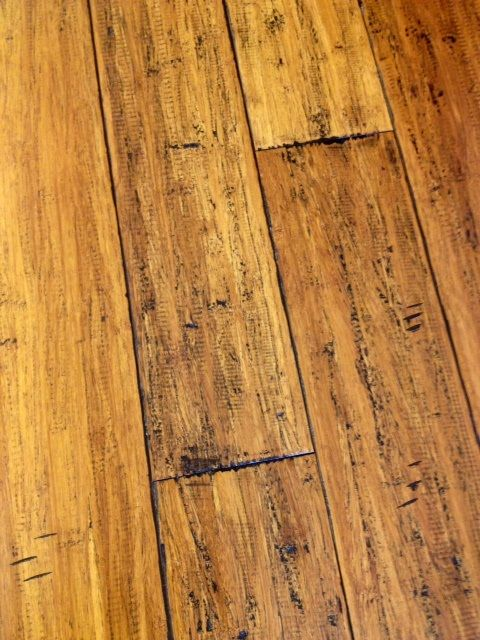Cleckley Floors Black Straw Hand Scraped Strand Woven Bamboo