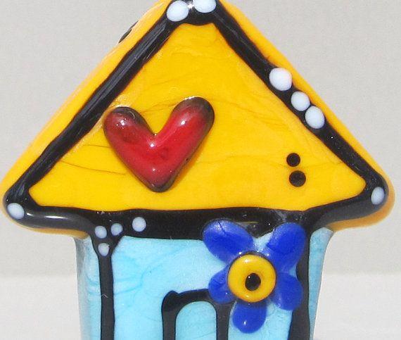 Tiny HouseHandmade Lampwork Glass Bead by BeadygirlBeads on Etsy