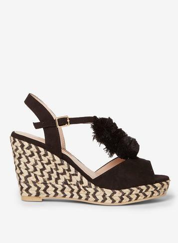 43b1337deb5 Black 'Rose' Pom Pom Wedges - Heels - Shoes   Products   Pinterest ...