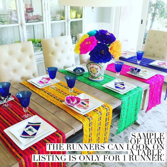 Beautiful Folkloric Mexican embroidered red with colorful details table runner, napkins or REVERSIBLE placemats available. Great for your next Mexican