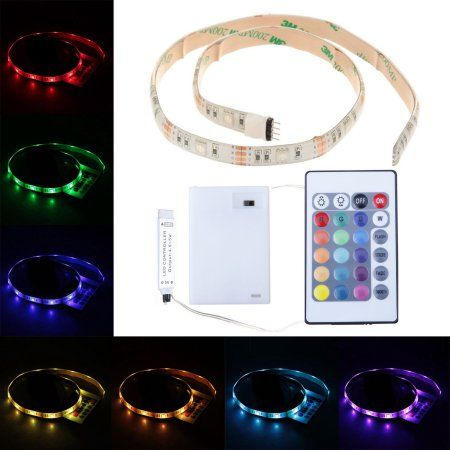 Led Light Strips Walmart Casung 5050 Smd Rgb 05M 15Leds Led Strip Light Battery Box Powered