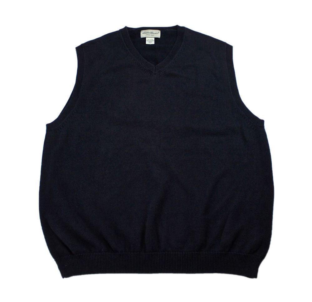 Eddie Bauer Navy Blue Cotton Sweater Vest Made in Australia ...