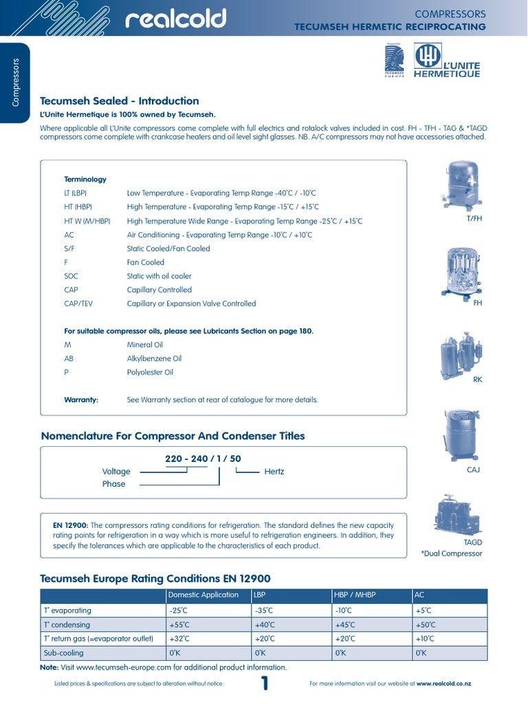 Tecumseh Compressor Ae4456y Aa1c Wiring In 2020 Tecumseh Electric Compressor Wire