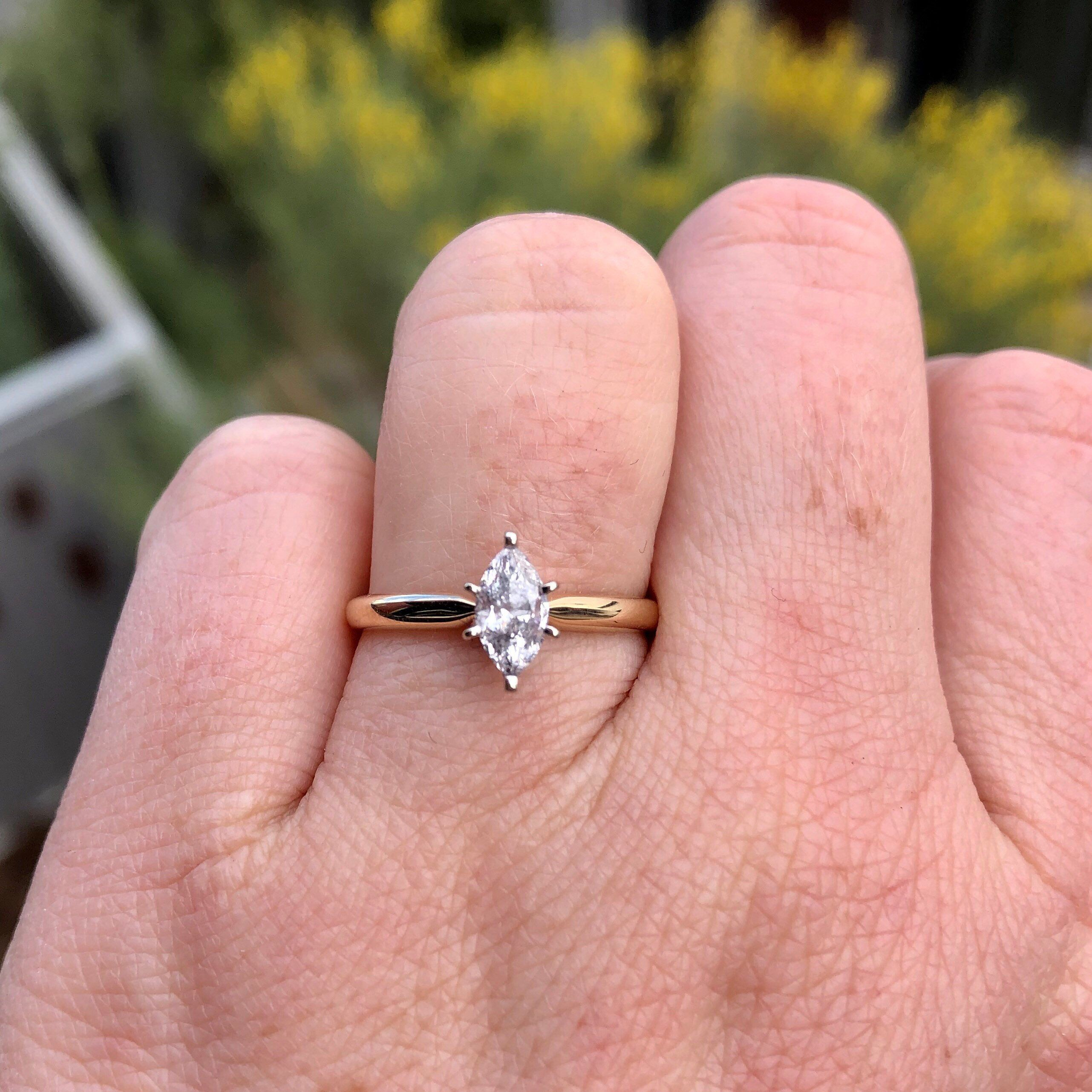 Marquise Diamond Engagement Ring Wide Band 14k Gold Marquise Diamond Engagement Ring Engagement Rings Marquise Wide Band Engagement Ring