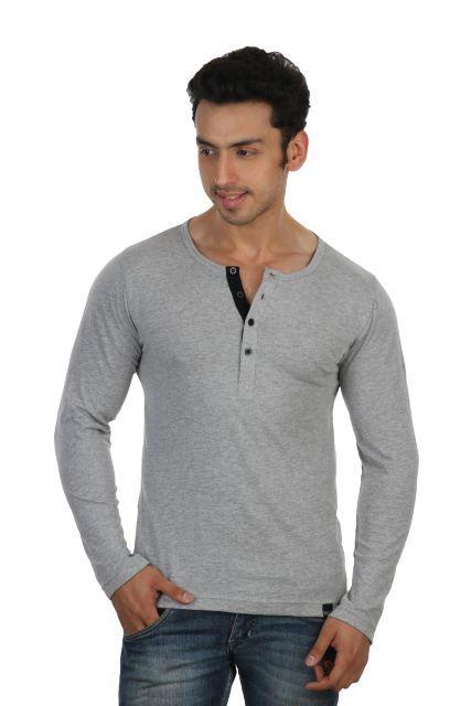 59719f883ab RIGO  Solid  Grey Casual  Henley Full sleeve  T-Shirts