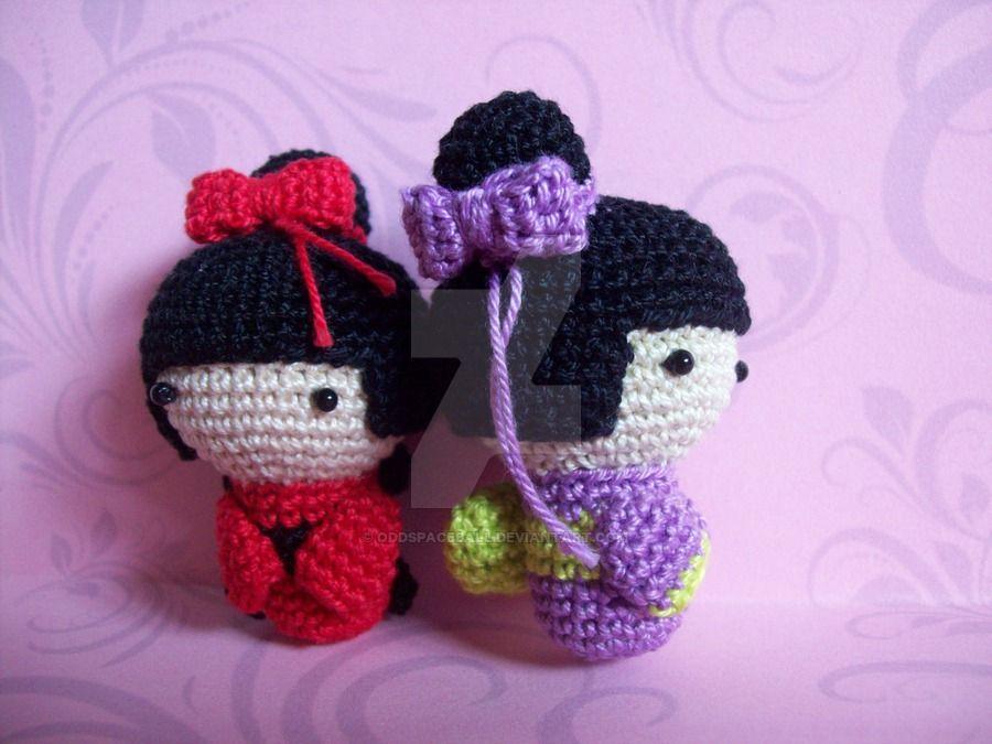 Amigurumi Kokeshi Doll Pattern : Amigurumi kokeshi dolls by oddspaceball.deviantart.com on