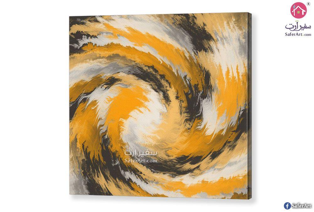 لوحه تجريدي ابيض واصفر سفير ارت للديكور Art Wall Art Wall Colors