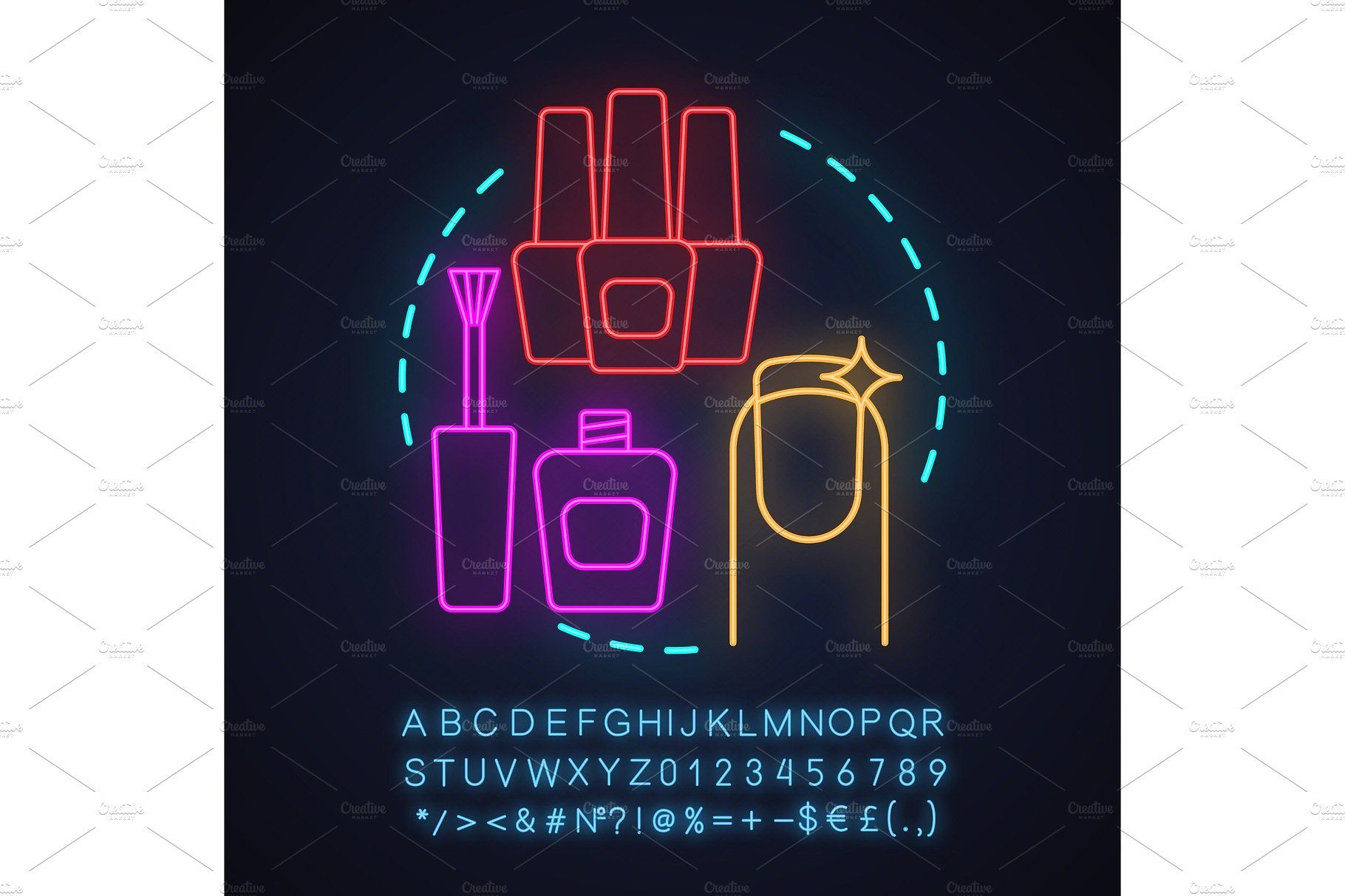 Nail salon neon light concept icon by Icons Factory on