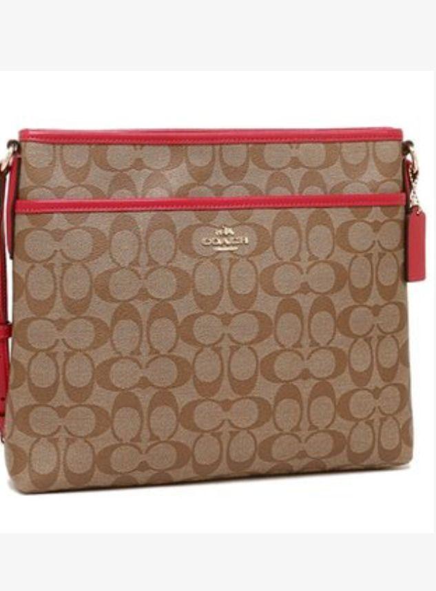COACH F58297 Khaki Bright Orange Signature File Bag Shoulder Cross Body  Handbag  Coach  MessengerCrossBody f8d37ac2a0