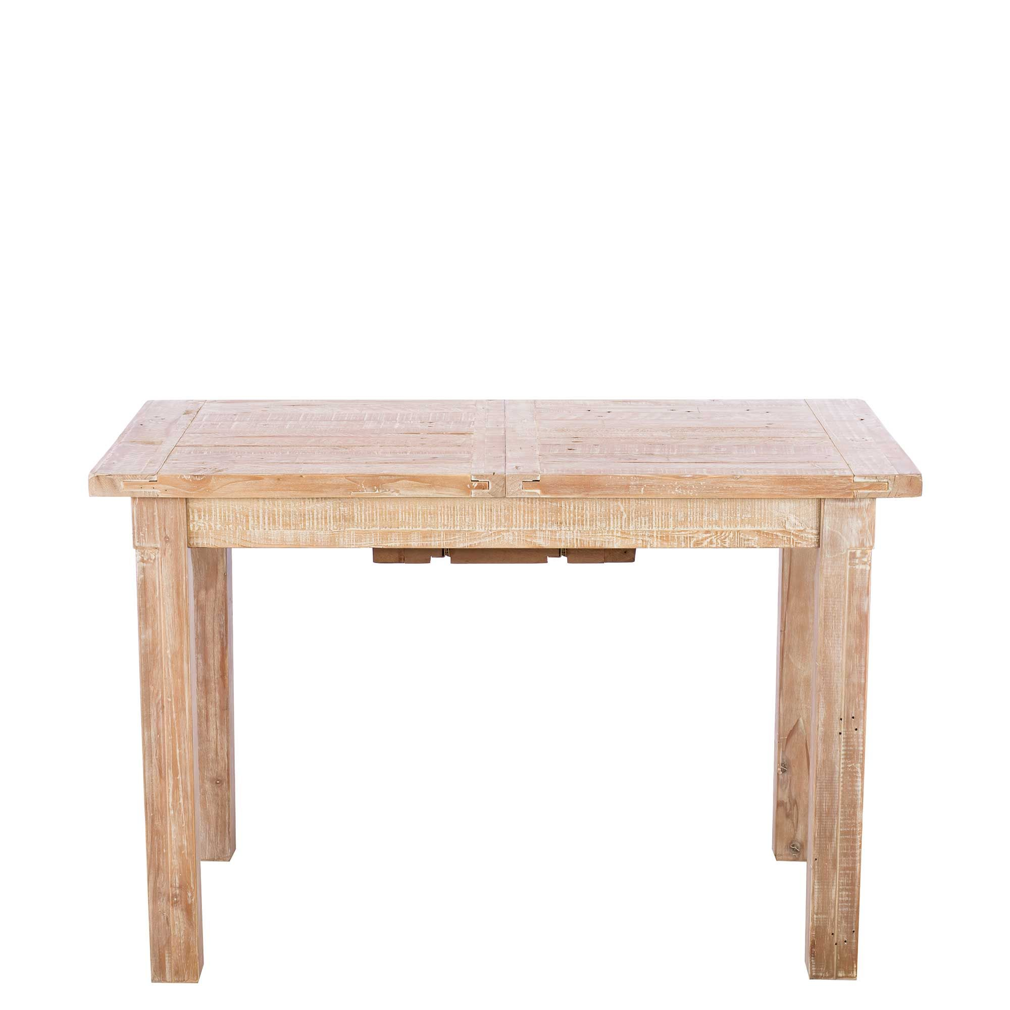 White Wash Wood Dining Table: Austen Reclaimed Wood 120cm Extending Dining Table, White