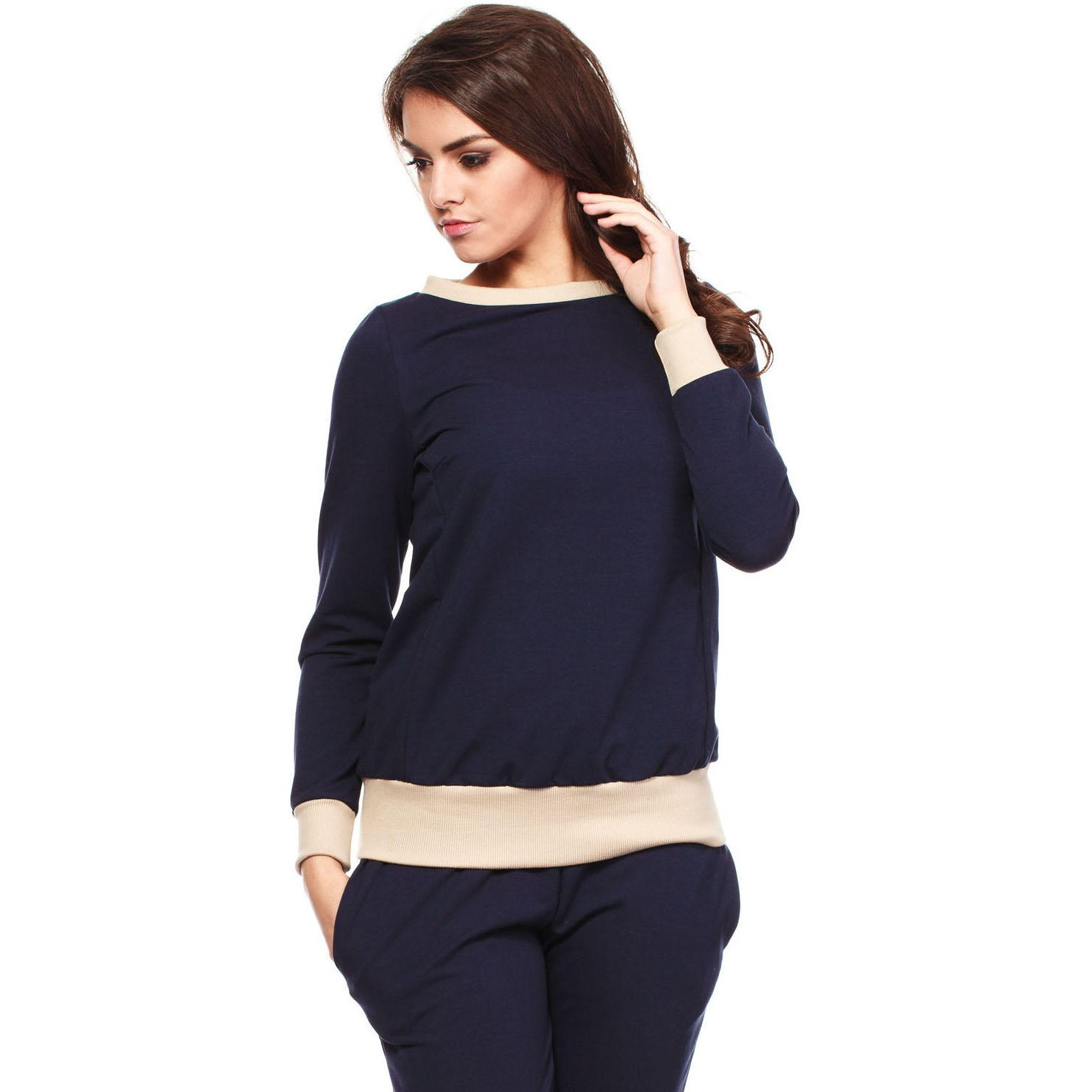 Navy Sporty Sweatshirt Long-Sleeve Top LAVELIQ