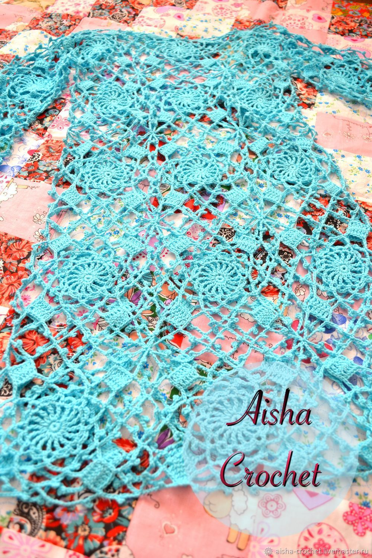 c62e44c9387 Пляжные туники ручной работы. Ажурная бирюзовая туника. Aisha Crochet. Ярмарка  Мастеров. Туника вязаная
