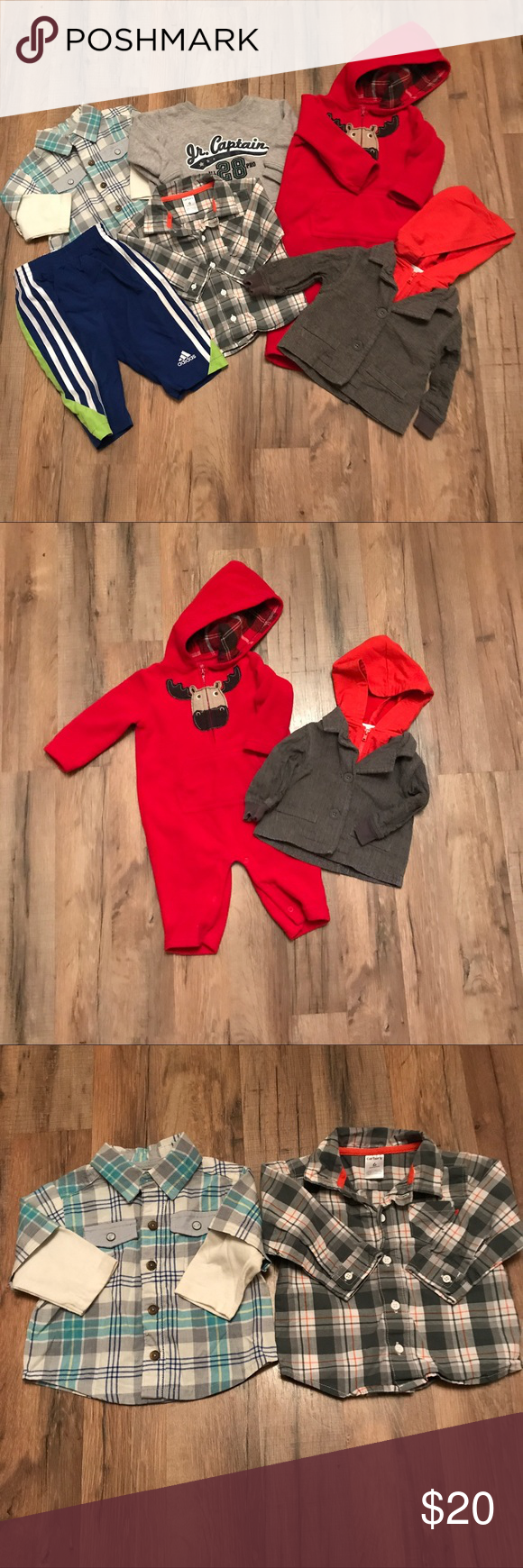 Boys size 6m lot Includes. Carter's button up. Genuinebaby button up. Carter's sweatshirt. Adidas pants. Little maven jacket. Carter's outfit. Carter's One Pieces