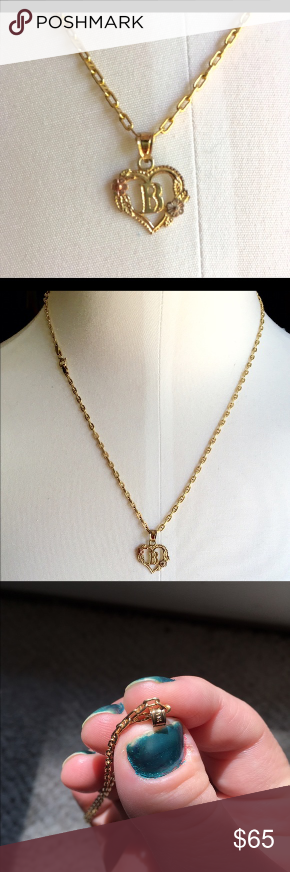 Beverly Hills Gold 14k B Initial Heart Necklace Beverly hills