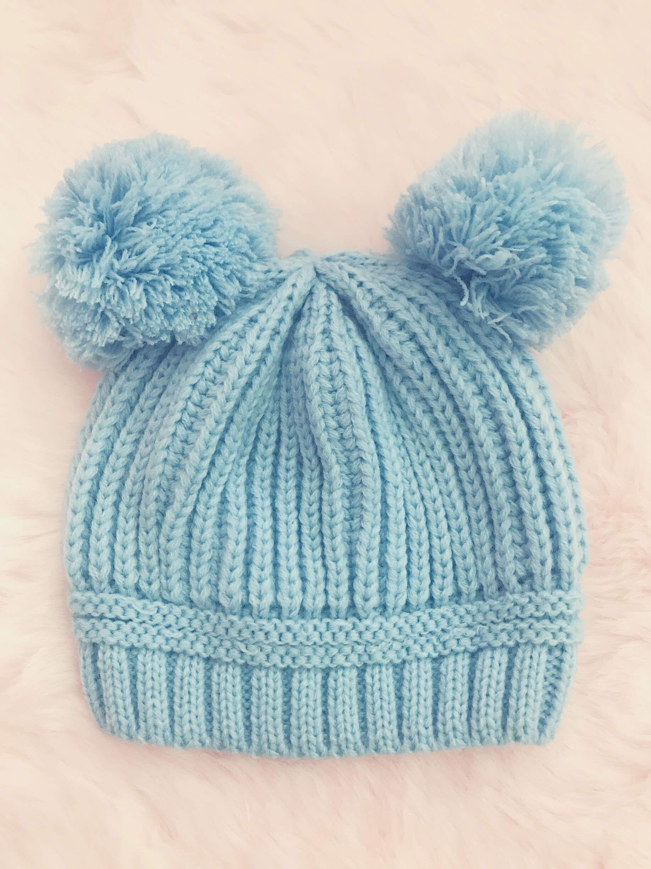 Itty Bitty Baby Blue Double Pom Pom Beanie Hat