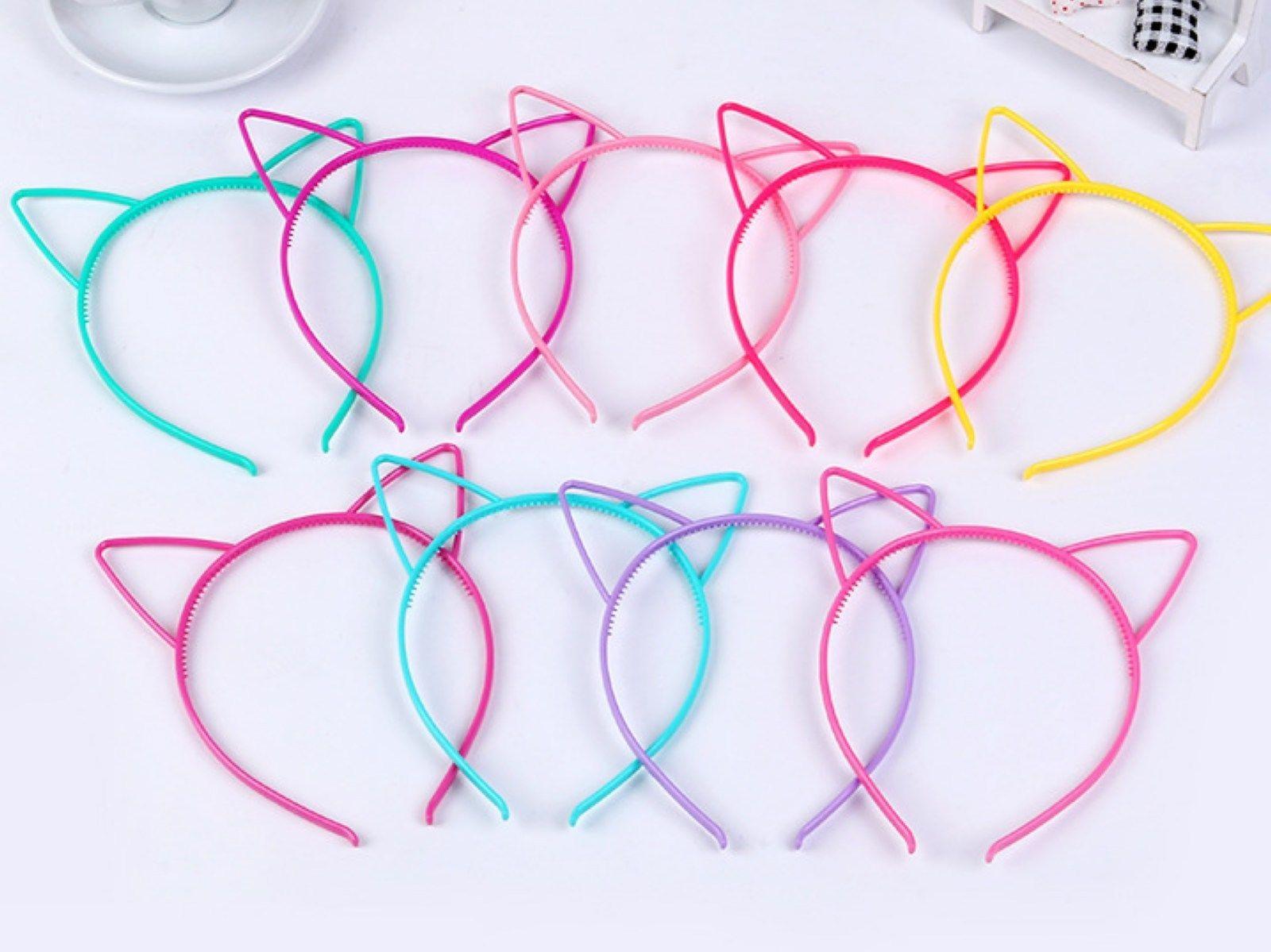 50 Mixed Color Plastic Cat Ear Hair Tiara Princess Headband Hair band With Teeth