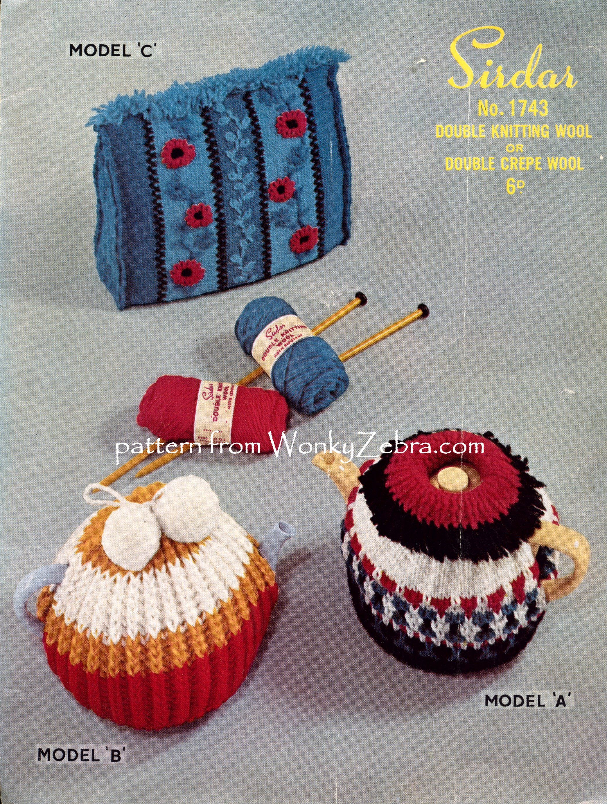 A Knitting Pattern For A 3 Retro Tea Cosies Originally From