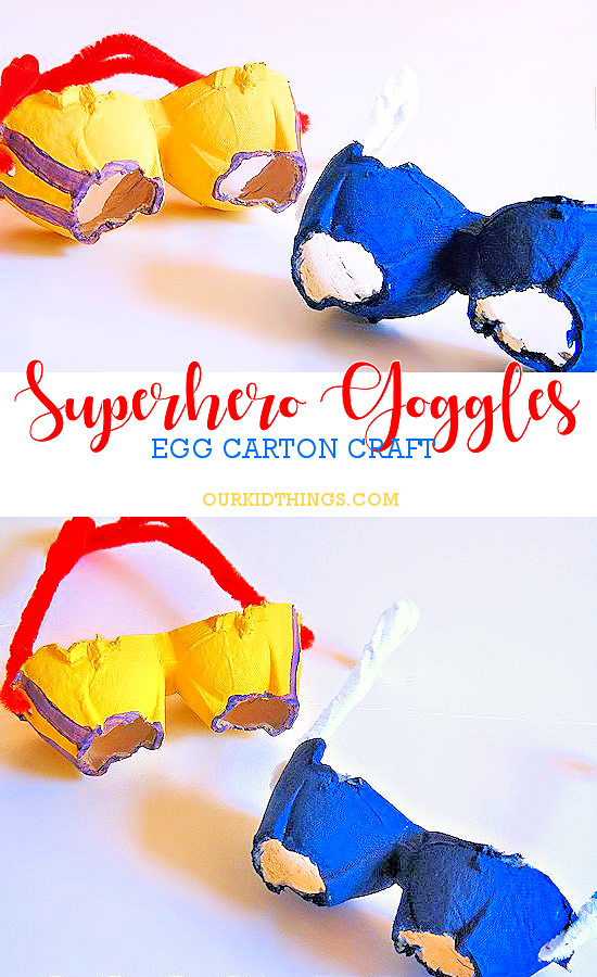 Egg Carton Superhero Goggles Craft | Our Kid Things