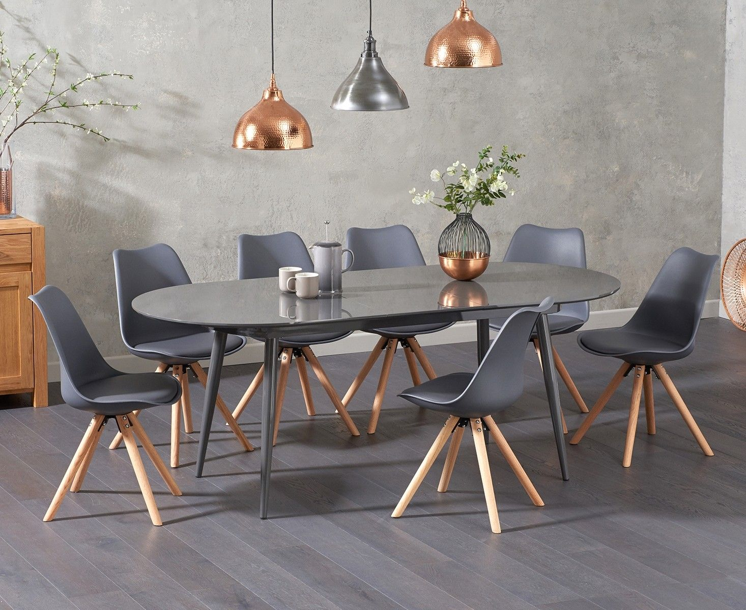 Olivia Extending Grey High Gloss Dining Table With Oscar Faux Leather Round Leg Chairs Solid Oak Dining Table Oak Dining Table Extendable Dining Table