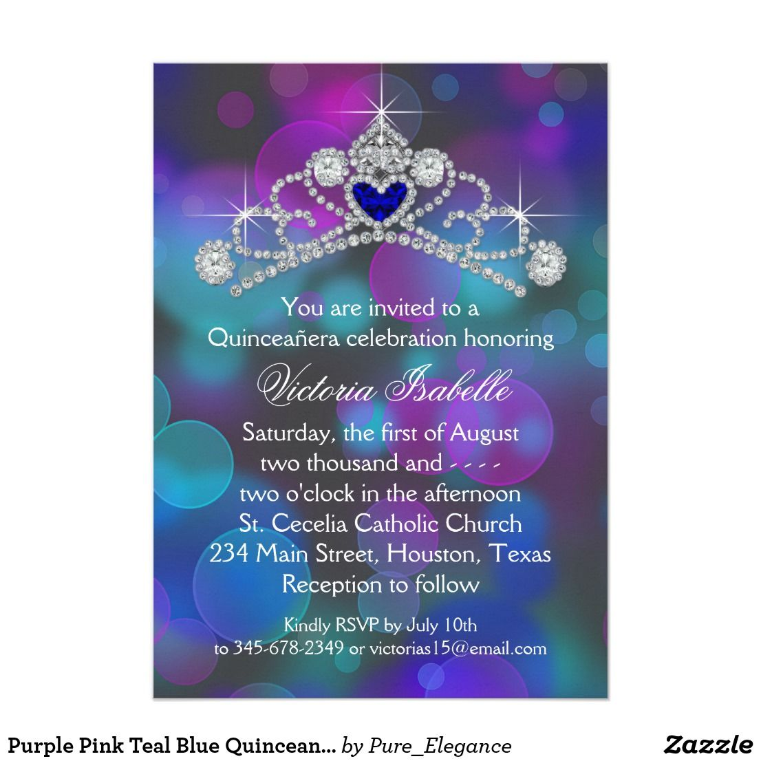 purple pink teal blue quinceanera card - Royal Blue Quinceanera Invitations