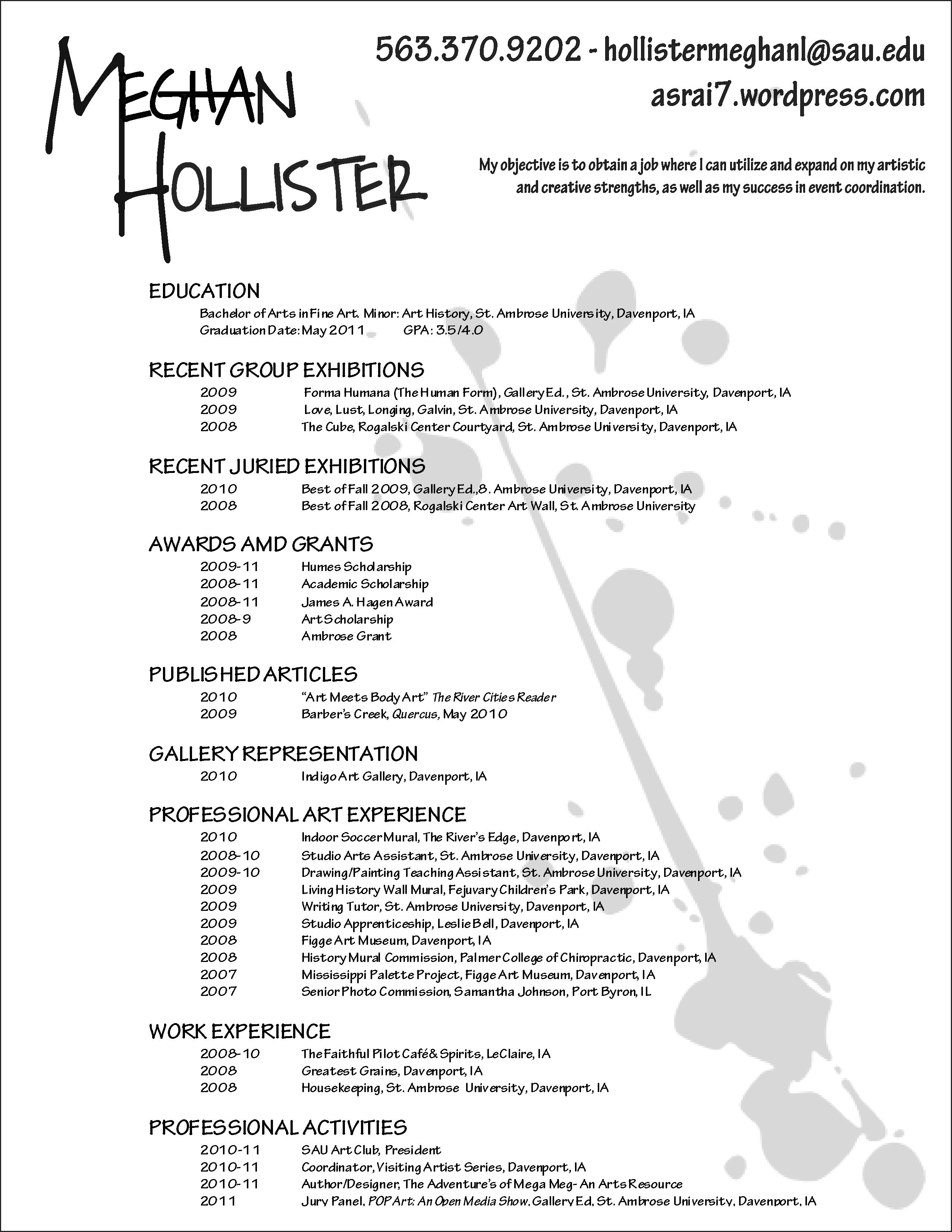 makeup artist resume template  Art Club  Artist resume