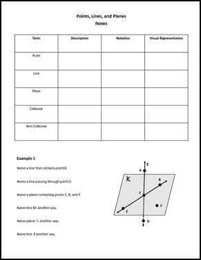 By My Geometry World 7th 10th Grade Worksheet Covering Points Lines Planes You Will Get A Copy Of Fill In The