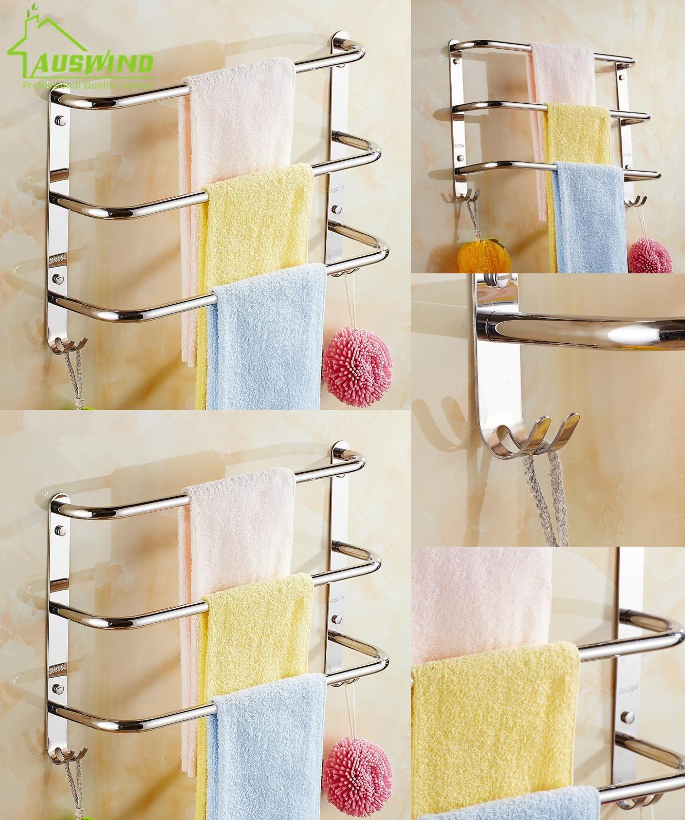 Bathroom wall mounted chrome brass towel rack shelf towel bar w hooks -  Visit To Buy Sus304 Stainless Steel Chrome Towel Bar 3 Layers Wall Mounted Towel