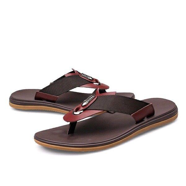 3d3cf88917366 Luxury Italian Genuine Clip Toe Sandals Leather Flip-flops Beach Sandals  Men Summer Plus Size Shoes Black Brown