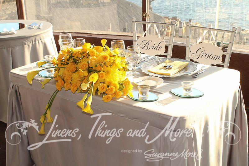 Canary Yellow And Silver Wedding Linens Thingore