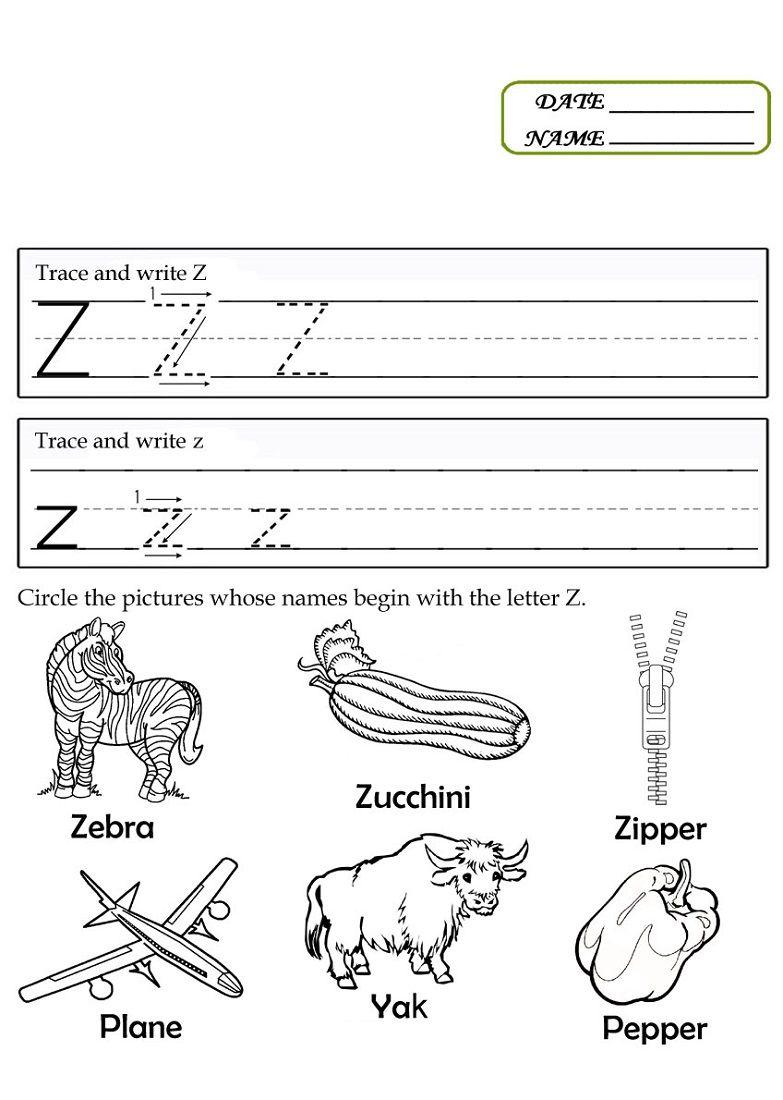 Letter Z Worksheets Kids Learning Activity Preschool Tracing Alphabet Preschool Tracing Worksheets Preschool