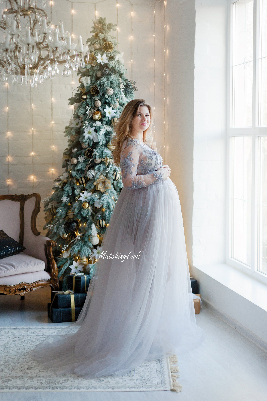 27305e82f0c Maternity Dress for Photo Shoot Tulle Maternity Dress Grey