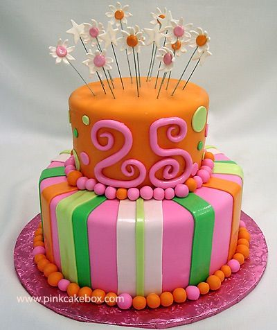 25 Years Old Happy Birthday Colorful Cake Cool Cakes