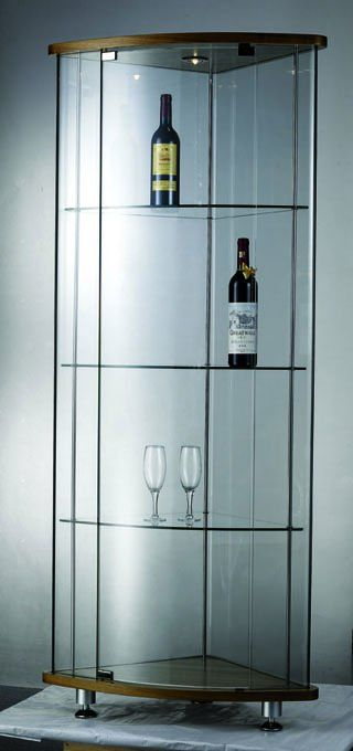 Corner glass display cabinet 150 200 home cabinet - Glass display units for living room ...