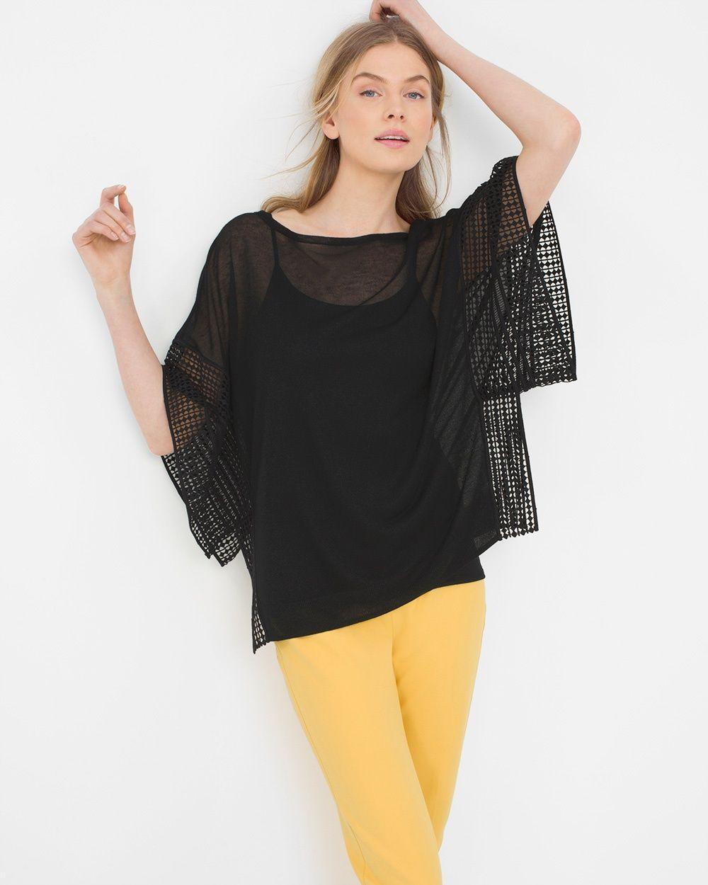 Lace-Trim Dolman Sleeve Sweater