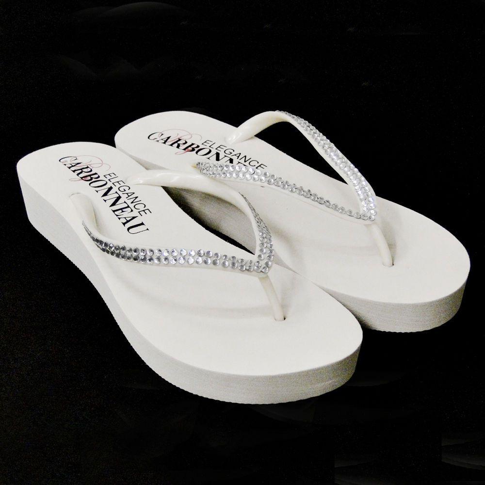 529e545ee White Rhinestone Low Wedge Summer Beach Wedding Bridal Flip Flop Sandals   PlatformsWedges