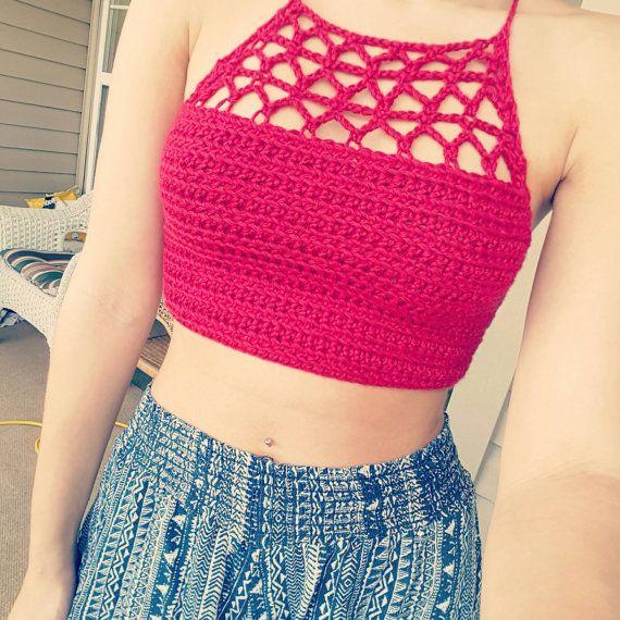 23f45e345deb Lacy crop top  tankini crochet pattern. Halter festival top    Scheheraz…