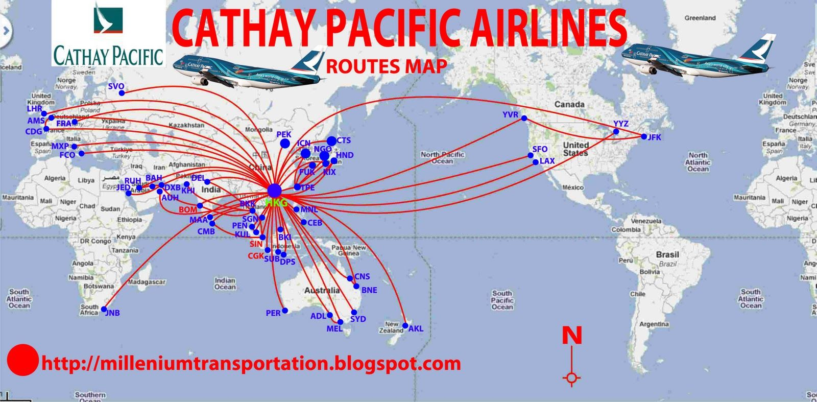 Cathay Pacific Airways routes map. via flightroute | Commercial ...