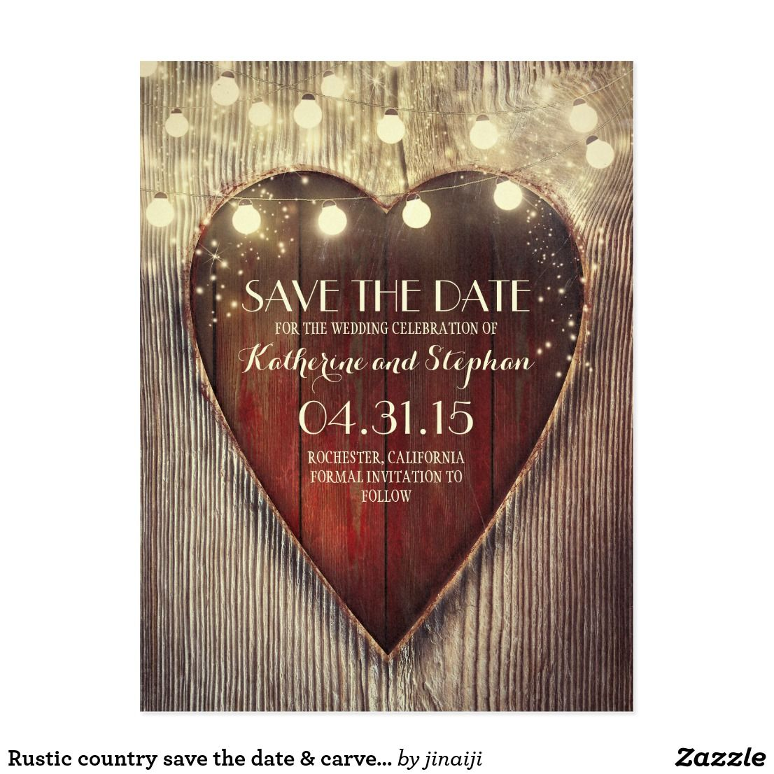 Rustic country save the date & carved heart lights postcard | Best ...