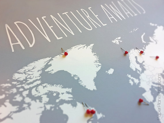 World Map With Pins, First Anniversary Gift for Him, Travel Map ...