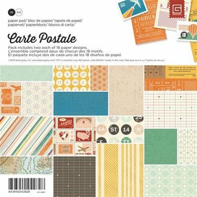 Basic Grey Carte Postale 6x6 Paper Pad Scrap Paper