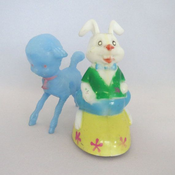 Vintage 1950s hard plastic Easter bunny and by AtomicDimestore, $10.00