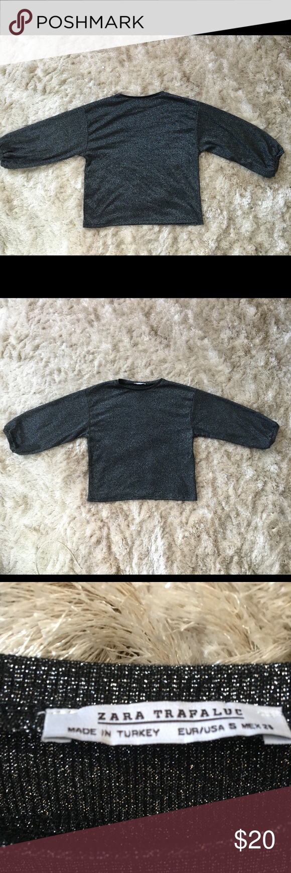 Dark gray sparkly long sleeve This small sweater is really pretty with anything ! The sleeves resemble those of peasant sleeve tops, but in a flattering way :) Zara Sweaters Crew & Scoop Necks