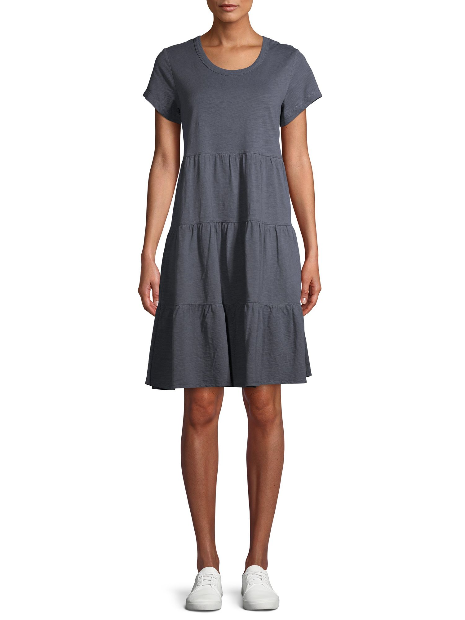 Time And Tru Time And Tru Women S Tiered Knit Dress Walmart Com In 2021 Tiered Knit Dress Knit Summer Dress Knit Dress [ 2000 x 1500 Pixel ]