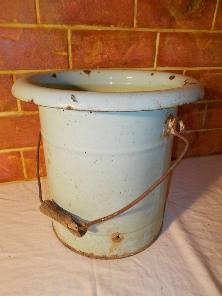 Ancien Pot De Chambre En Metal Emaille Art Populaire Vintage Enamelware Enamelware Metal