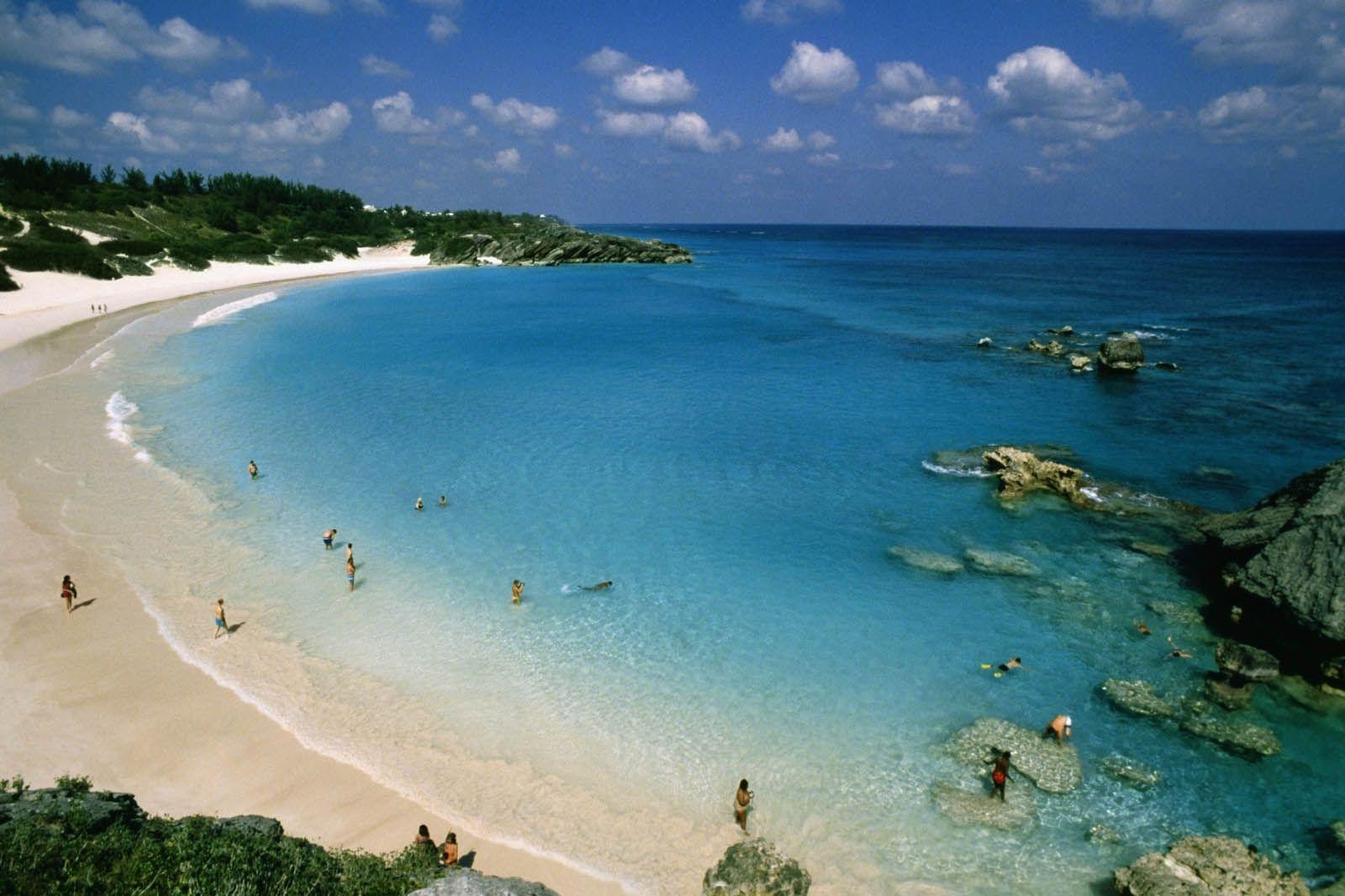Aerial View Of Horseshoe Bay Beach Bermuda
