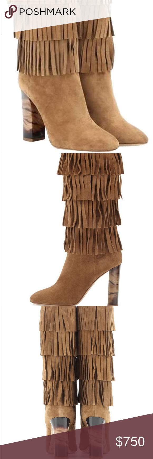 Burberry Suede Fringed Boots Brand new never worn Burberry Shoes Heeled Boots