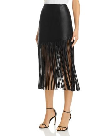 BAGATELLE.NYC Fringed Faux Leather Midi Skirt Women - Bloomingdale's #mittellangeröcke