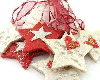 Manualidades Navidenas Con Arcilla.Adornos De Navidad Corazones Y Estrellas De 7 Arcilla