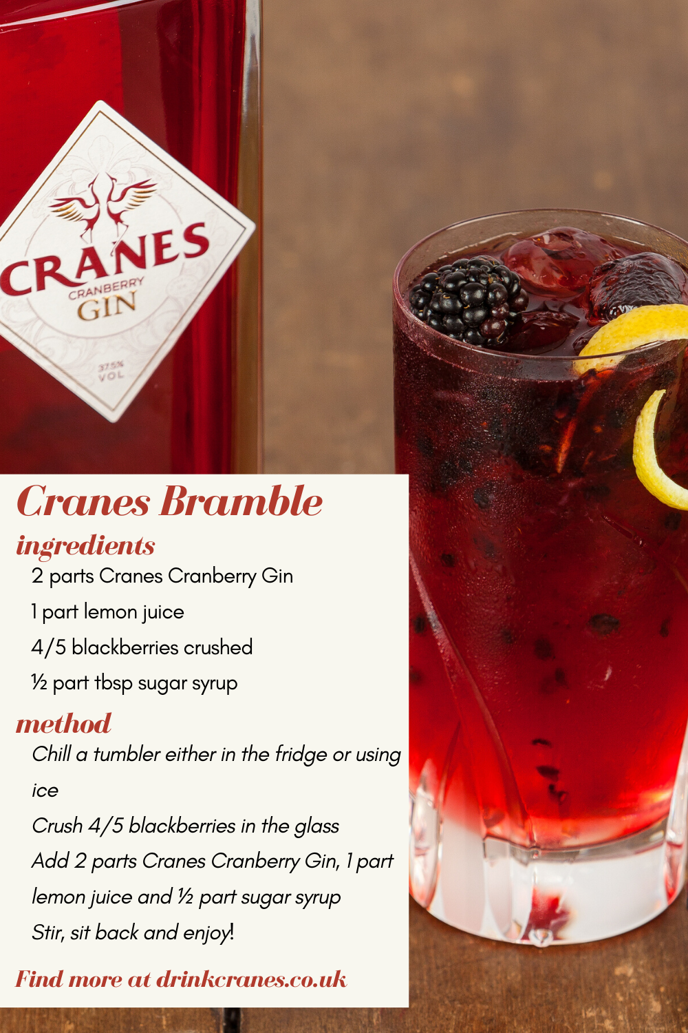 Follow these easy steps to create this delicious, classic cocktail. Cranes Cranberry Gin gives a tantalising twist to the bramble, making it smooth and fruity, yet delightfully sharp. This is the perfect cocktail to enjoy on those warm summer evenings! Available on Ocado and Amazon.    #gin #bramble #cocktail #summer #cranberry #lemon #blackberry #recipe #Cranes #Ocado #Amazon #sweet #delicious #fruity #sharp #gincocktail